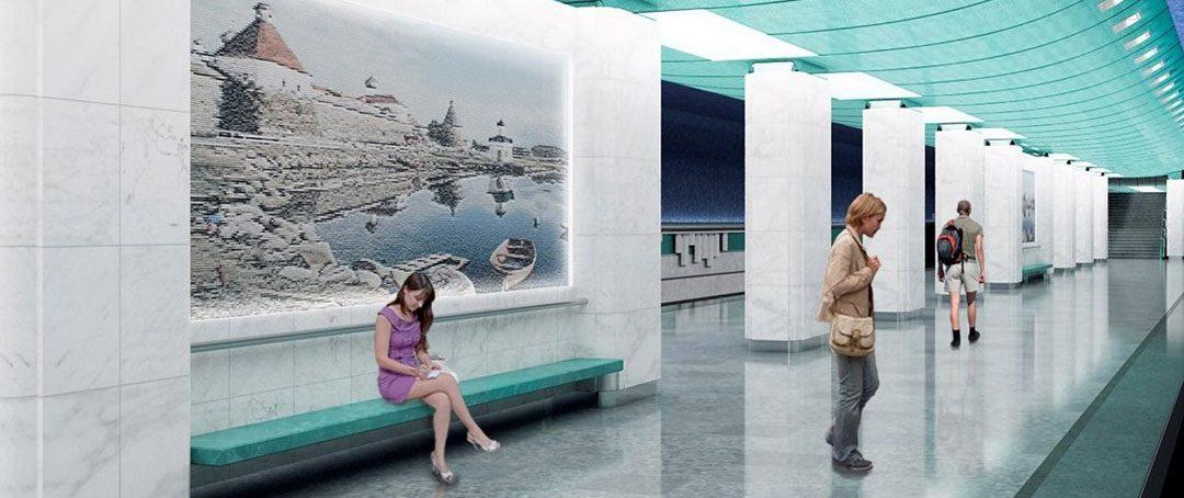 На станции метро «Беломорская» началась установка эскалаторов